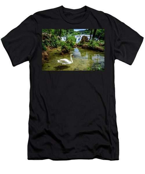 Swan In The Waterfalls Of Skradinski Buk At Krka National Park In Croatia Men's T-Shirt (Athletic Fit)