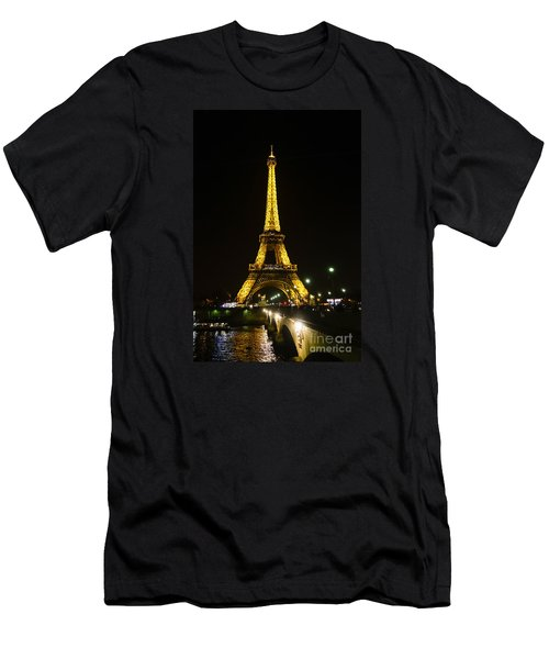 The Eiffel Tower At Night Illuminated, Paris, France. Men's T-Shirt (Athletic Fit)