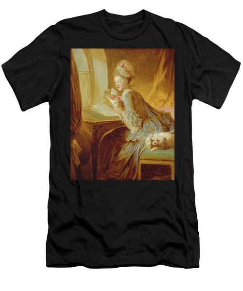 Men's T-Shirt (Slim Fit) featuring the painting The Love Letter by Jean Honore Fragonard