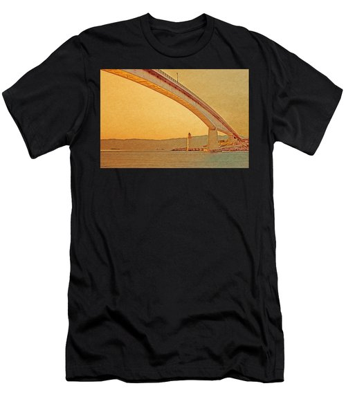 Men's T-Shirt (Athletic Fit) featuring the digital art The Skye Bridge And Kyleakin Lighthouse by Anthony Murphy