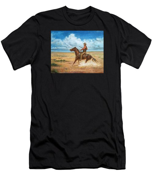 Men's T-Shirt (Athletic Fit) featuring the painting The Tracker by Mel Greifinger