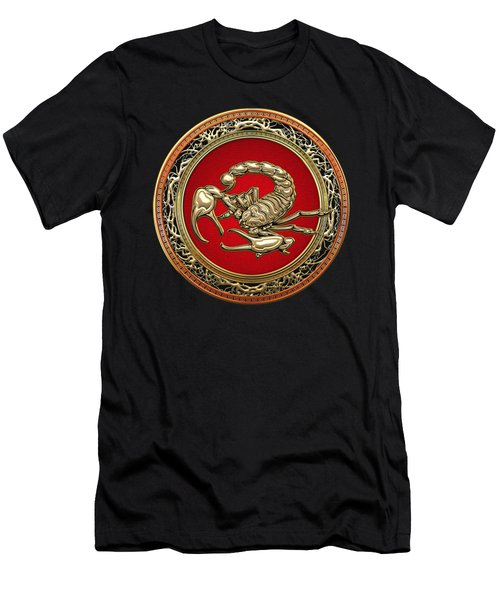 Treasure Trove - Sacred Golden Scorpion On Black Men's T-Shirt (Athletic Fit)