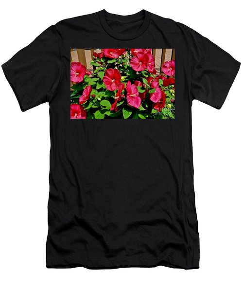 Tropical Red Hibiscus Bush Men's T-Shirt (Athletic Fit)