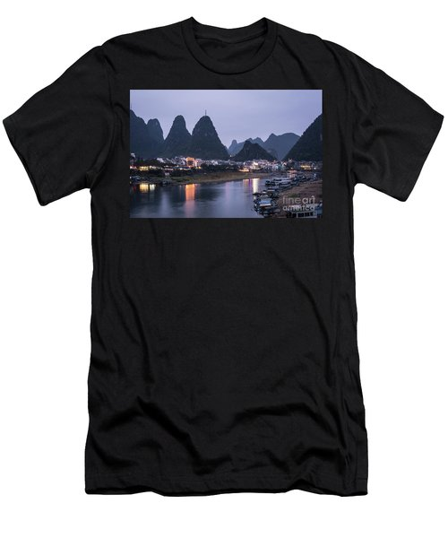 Twilight Over The Lijang River In Yangshuo Men's T-Shirt (Athletic Fit)
