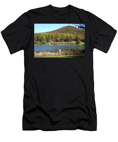 View Of Peaks Of Otter Lodge And Abbott Lake  In Autumn Men's T-Shirt (Athletic Fit)