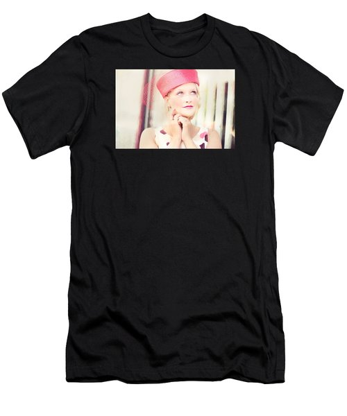 Men's T-Shirt (Athletic Fit) featuring the digital art Vintage Val The Coral Hat by Jill Wellington
