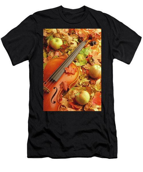 Violin With Fallen Leaves Men's T-Shirt (Athletic Fit)