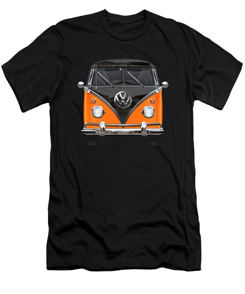 Volkswagen Type 2 - Black And Orange Volkswagen T 1 Samba Bus Over Blue Men's T-Shirt (Athletic Fit)