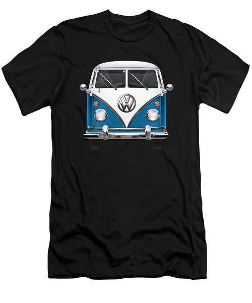 Volkswagen Type 2 - Blue And White Volkswagen T 1 Samba Bus Over Orange Canvas  Men's T-Shirt (Athletic Fit)
