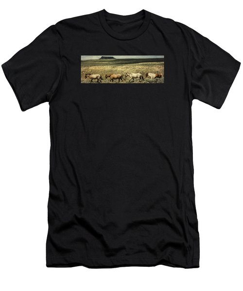 Men's T-Shirt (Athletic Fit) featuring the photograph Walking The Line At Pilot Butte by Lou Novick