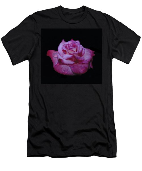 Watered Red Rose Men's T-Shirt (Athletic Fit)