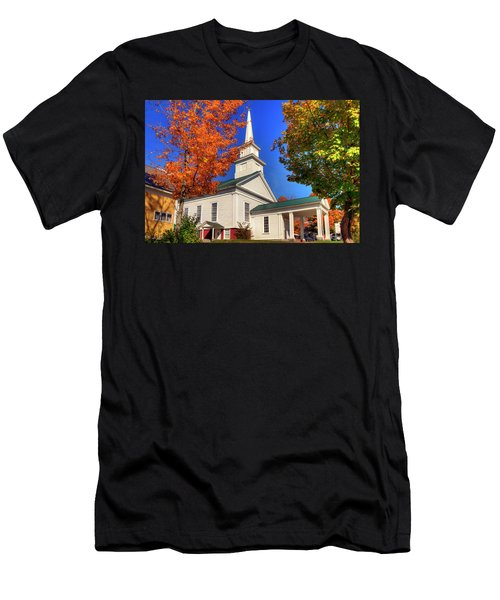 Men's T-Shirt (Athletic Fit) featuring the photograph White Church In Autumn by Joann Vitali