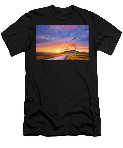 wind turbines in Oiz eolic park Men's T-Shirt (Athletic Fit)