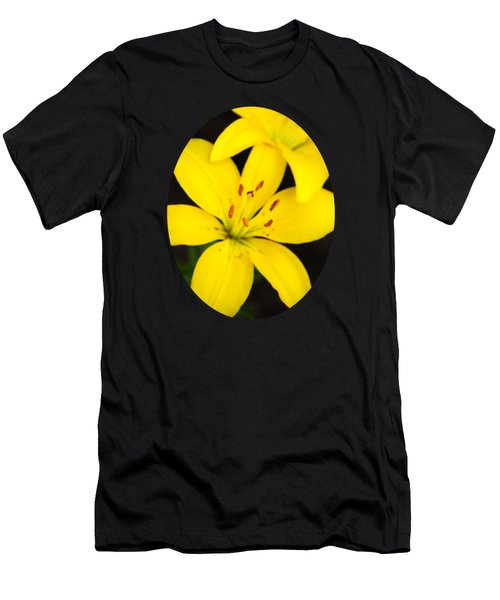 Yellow Lily Flower Men's T-Shirt (Slim Fit) by Christina Rollo