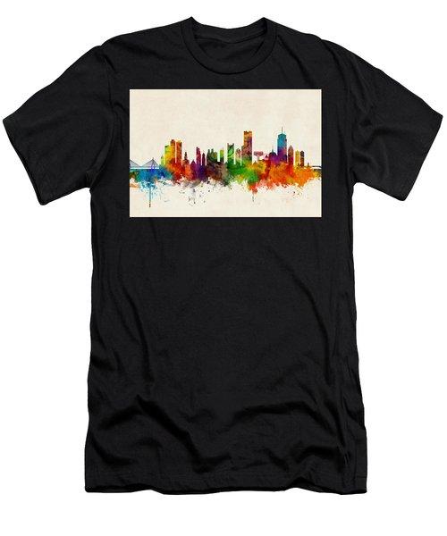 Boston Massachusetts Skyline Men's T-Shirt (Athletic Fit)