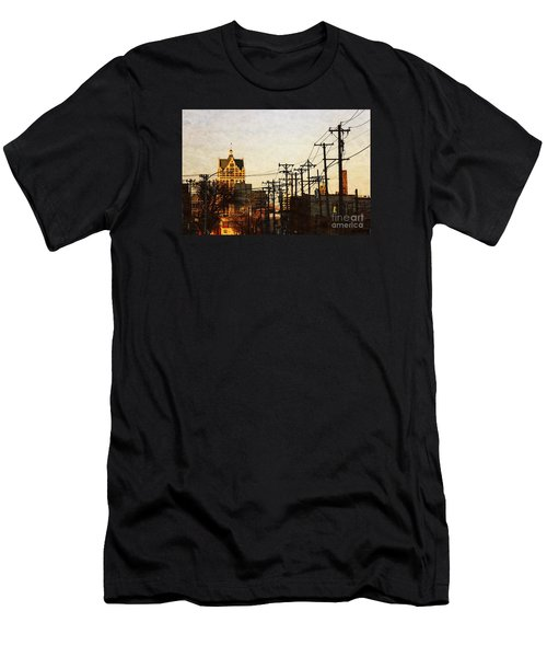 Men's T-Shirt (Slim Fit) featuring the digital art 100 East Wisconsin by David Blank