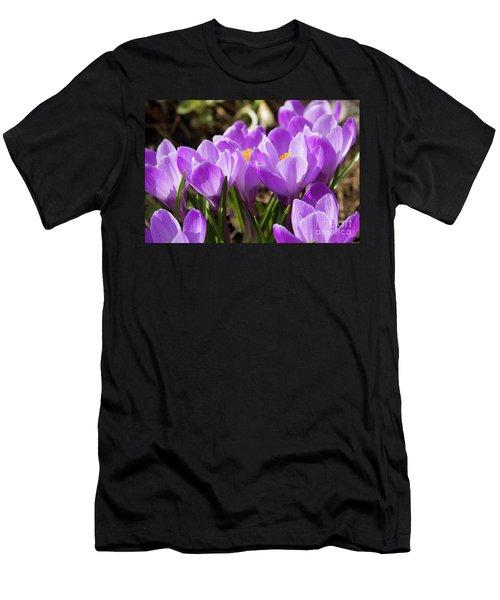 Purple Crocuses Men's T-Shirt (Slim Fit) by Irina Afonskaya