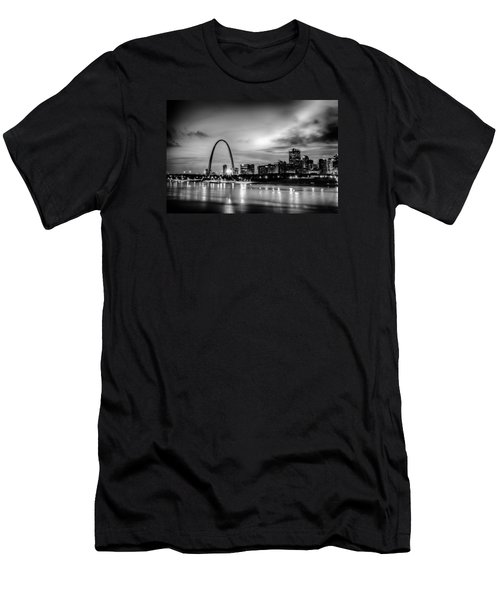 City Of St. Louis Skyline. Image Of St. Louis Downtown With Gate Men's T-Shirt (Slim Fit) by Alex Grichenko