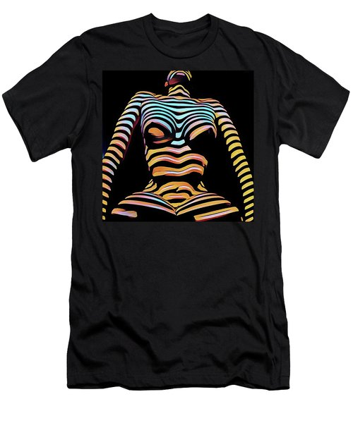 1205s-mak Seated Figure Zebra Striped Nude Rendered In Composition Style Men's T-Shirt (Athletic Fit)