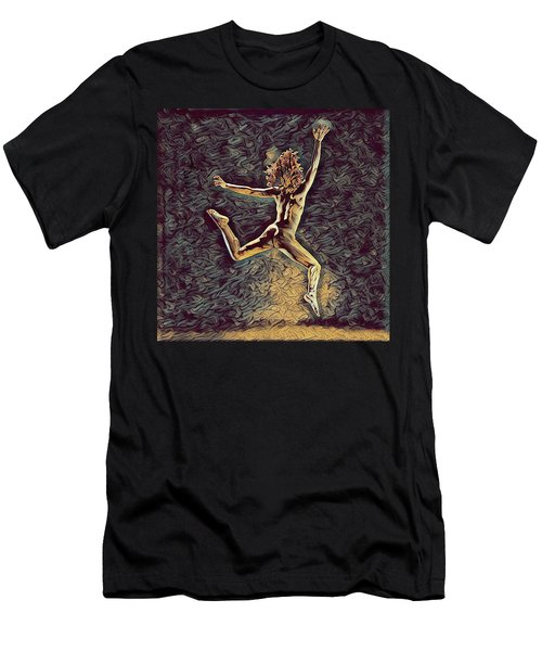 1307s-dancer Leap Fit Black Woman Bare And Free Men's T-Shirt (Athletic Fit)