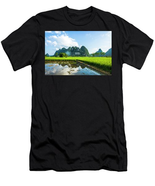 Men's T-Shirt (Athletic Fit) featuring the photograph The Beautiful Karst Rural Scenery by Carl Ning