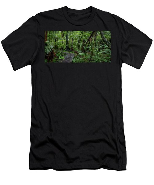 Men's T-Shirt (Slim Fit) featuring the photograph Forest Boardwalk by Les Cunliffe