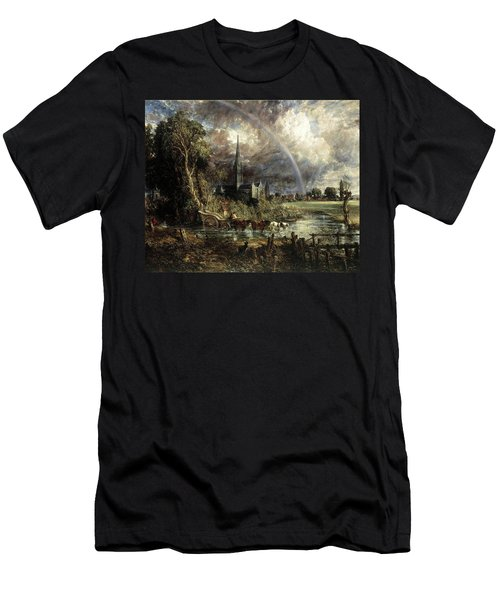 Salisbury Cathedral From The Meadows Men's T-Shirt (Athletic Fit)