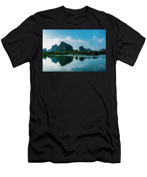 Men's T-Shirt (Athletic Fit) featuring the photograph The Karst Mountains And River Scenery by Carl Ning
