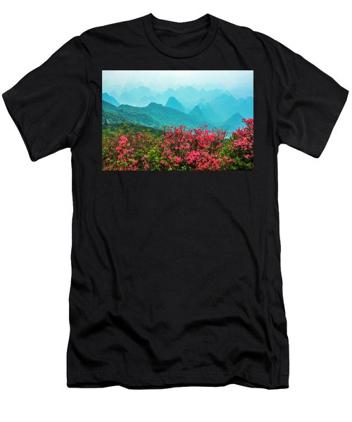 Men's T-Shirt (Athletic Fit) featuring the photograph  Blossoming Azalea And Mountain Scenery by Carl Ning