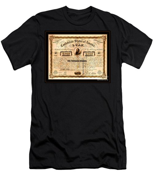 Men's T-Shirt (Athletic Fit) featuring the drawing 1863 Confederate States Of America Loan With Stonewall Jackson Portrait Issued At Houston by Peter Gumaer Ogden