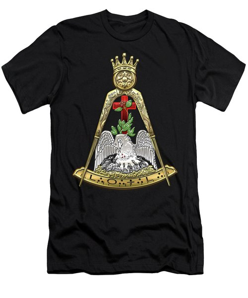 18th Degree Mason - Knight Rose Croix Masonic Jewel  Men's T-Shirt (Slim Fit) by Serge Averbukh