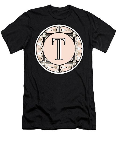 1920s Pink Champagne Deco Monogram  T Men's T-Shirt (Athletic Fit)