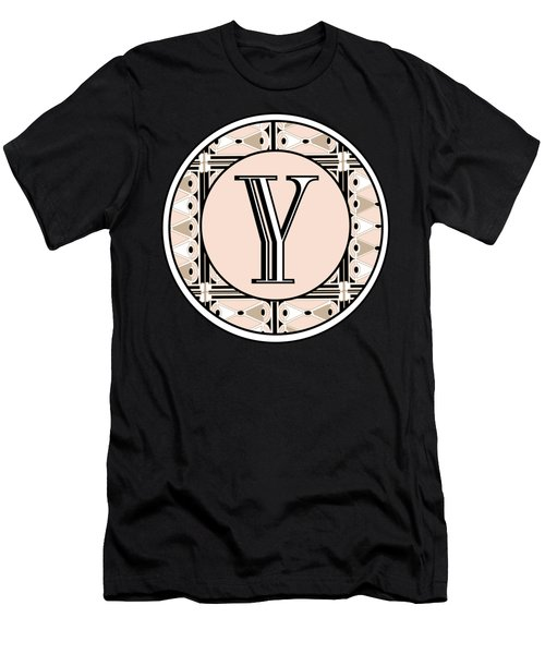 1920s Pink Champagne Deco  Monogram  Y Men's T-Shirt (Athletic Fit)