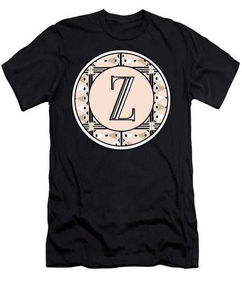 1920s Pink Champagne Deco Monogram  Z Men's T-Shirt (Athletic Fit)
