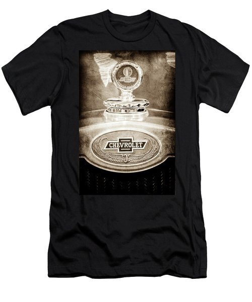 Men's T-Shirt (Slim Fit) featuring the photograph 1928 Chevrolet 2 Door Coupe Hood Ornament Moto Meter -0789s by Jill Reger