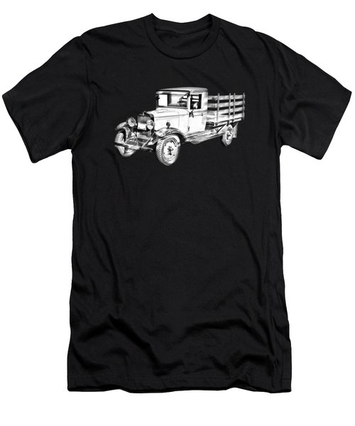 1929 Chevy Truck 1 Ton Stake Body Drawing Men's T-Shirt (Athletic Fit)