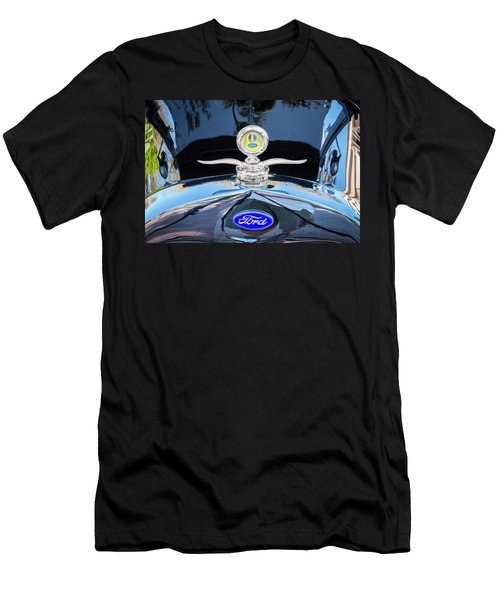 Men's T-Shirt (Slim Fit) featuring the photograph 1929 Ford Model A Hood Ornament  by Rich Franco