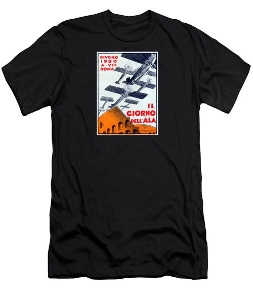 Men's T-Shirt (Slim Fit) featuring the painting 1930 Italian Air Show by Historic Image