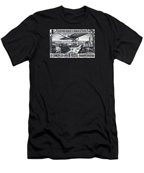 1931 Airplane Over Calle De Alcala, Spain Men's T-Shirt (Athletic Fit)