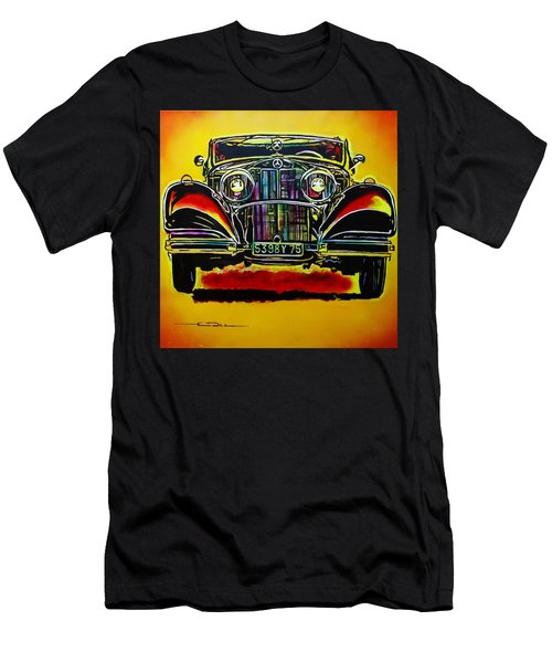 Men's T-Shirt (Slim Fit) featuring the painting 1937 Mercedes Benz First Wheel Down by Eric Dee