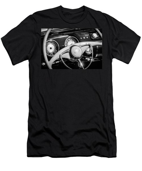 Men's T-Shirt (Athletic Fit) featuring the photograph 1941 Lincoln Continental Cabriolet V12 Steering Wheel -226bw by Jill Reger