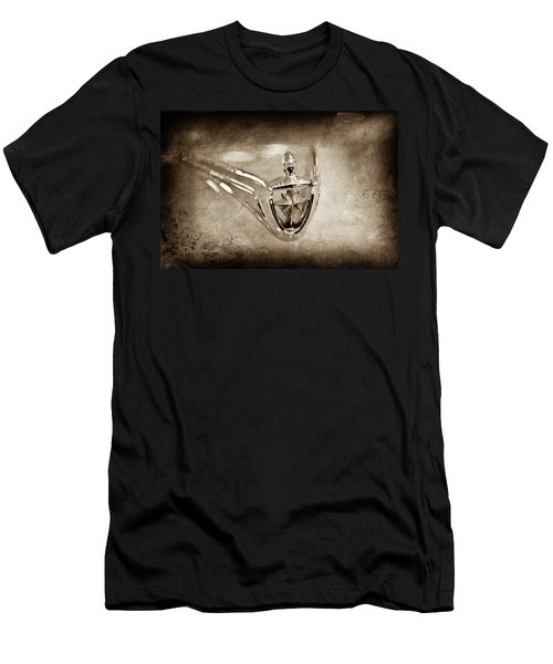 Men's T-Shirt (Slim Fit) featuring the photograph 1956 Lincoln Premier Convertible Hood Ornament -0832s by Jill Reger