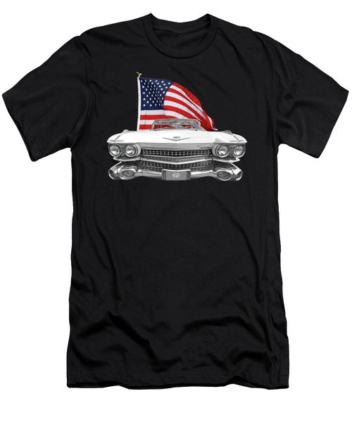 1959 Cadillac With Us Flag Men's T-Shirt (Slim Fit) by Gill Billington