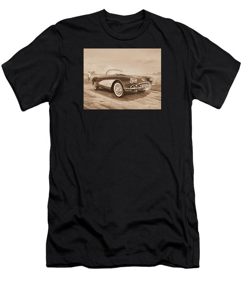 1959 Chevrolet Corvette Cabriollet In Sepia Men's T-Shirt (Athletic Fit)