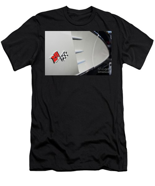 Men's T-Shirt (Slim Fit) featuring the photograph 1960 Black And Grey Corvette Side Shot by Aloha Art