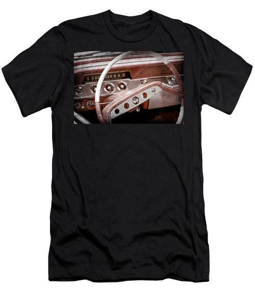 Men's T-Shirt (Slim Fit) featuring the photograph 1961 Chevrolet Impala Ss Steering Wheel Emblem -1156ac by Jill Reger