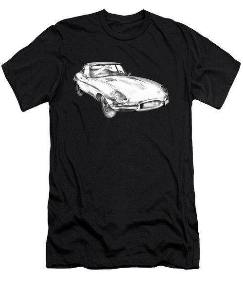 1964 Jaguar Xke Antique Sportscar Illustration Men's T-Shirt (Athletic Fit)