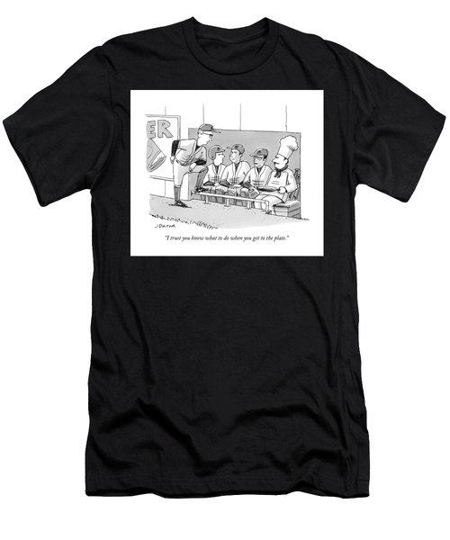 A Coach Is Standing By A Baseball Dugout Men's T-Shirt (Athletic Fit)