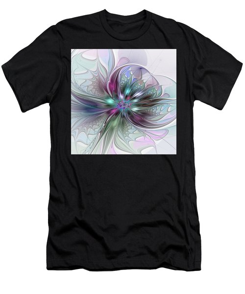 Colorful Fantasy Abstract Modern Fractal Flower Men's T-Shirt (Athletic Fit)