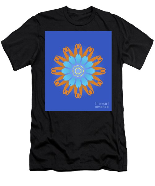 Abstract Blue, Orange And Yellow Star Men's T-Shirt (Athletic Fit)
